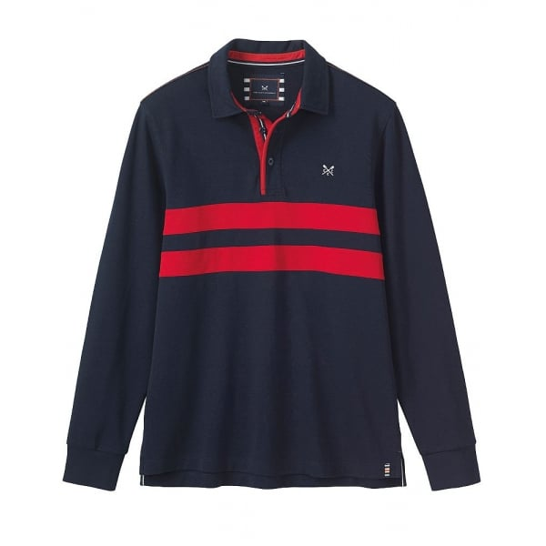 3fd9bbf23ab Crew Clothing Mens Trentwith Long Sleeve Rugby Top in Navy