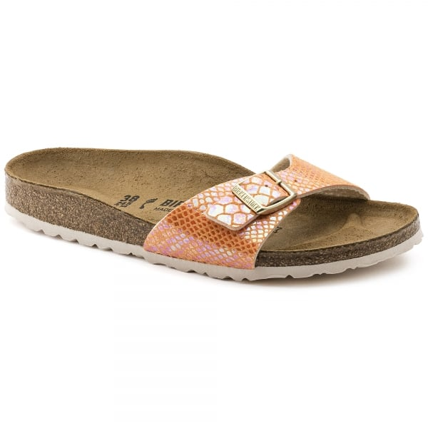 Birkenstock Madrid Birko Flor In Shiny Snake Orange