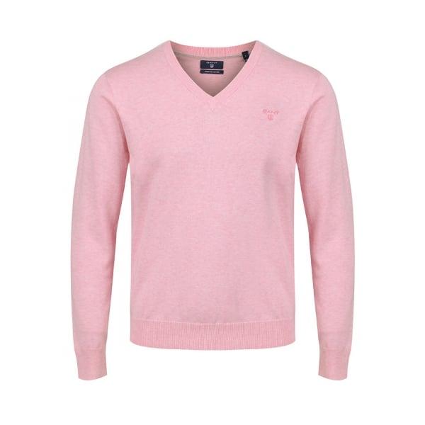 72a5c6e76 Gant Mens Lightweight Cotton V-neck Sweater in Light Pink Melange ...