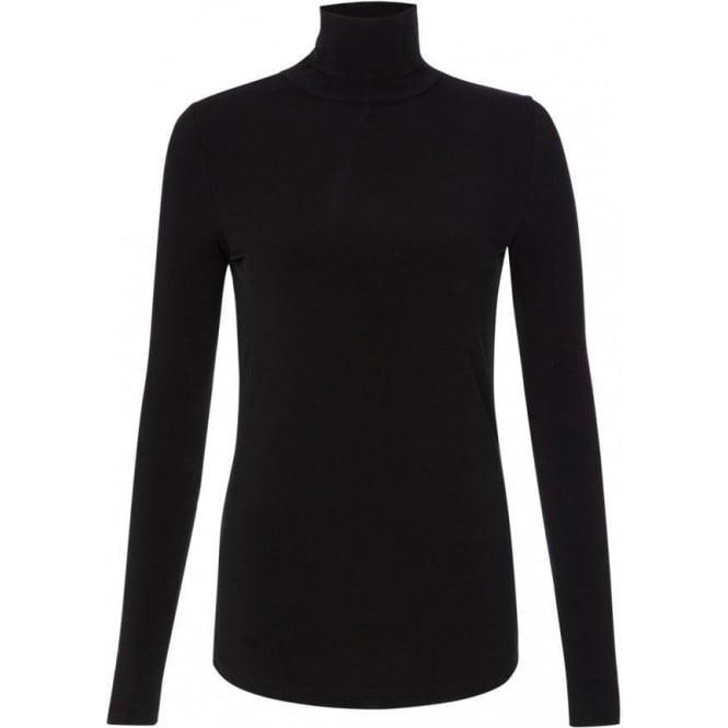 Great Plains Womens Frisco Jersey Polo Neck Top in Black