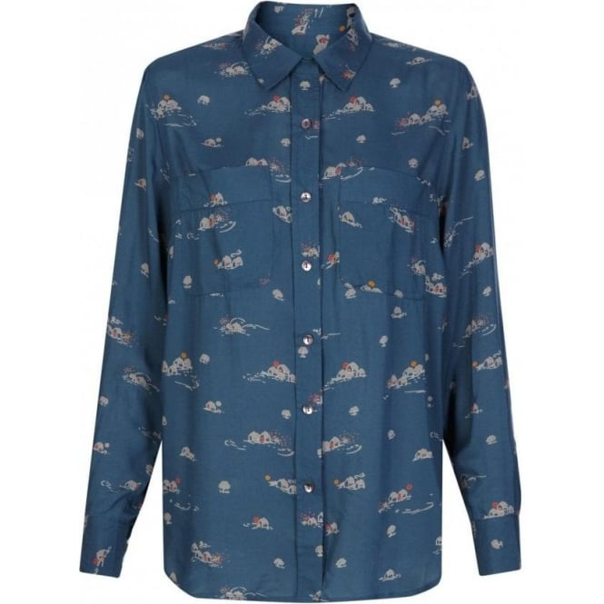 Great Plains Womens Home Sweet Home Printed Shirt in Petrol