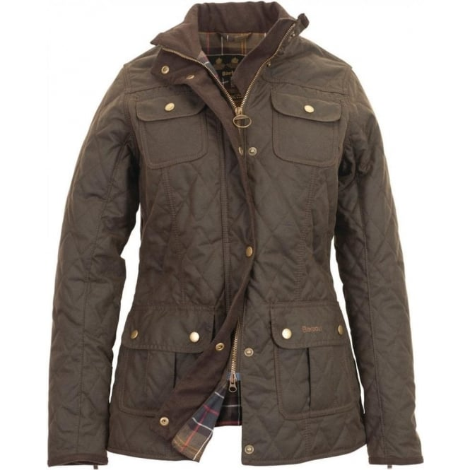 Barbour Womens Quilted Utility Waxed Jacket in Olive