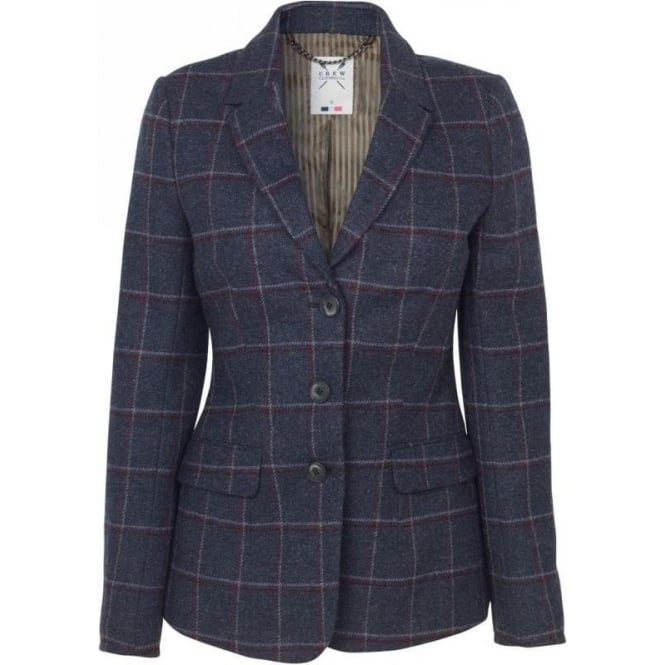 Crew Clothing Womens Ludgrove Blazer in Navy Check
