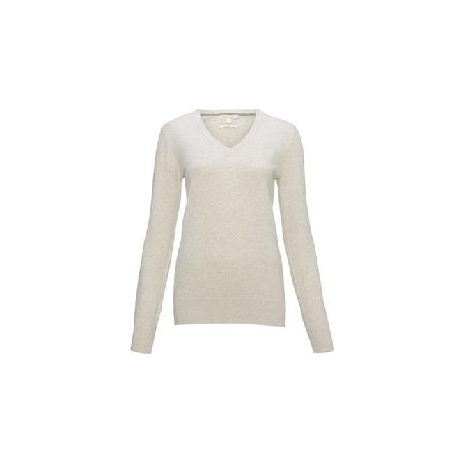 Barbour Womens Pima V Neck Jumper in Pearl Marl
