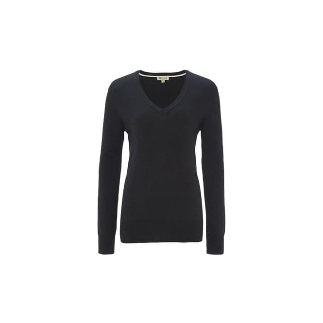 Barbour Womens Pima V Neck Jumper in Navy
