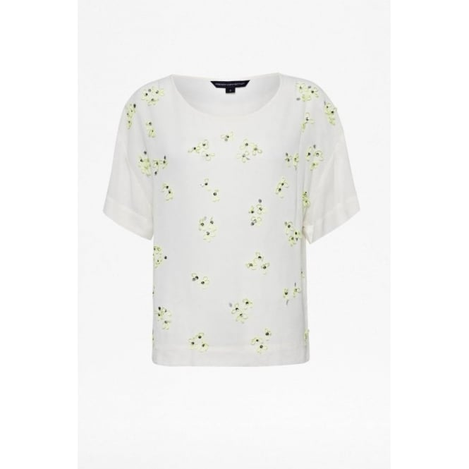 French Connection Womens Squiggle Sequin Top in Porcelain/fluro yellow