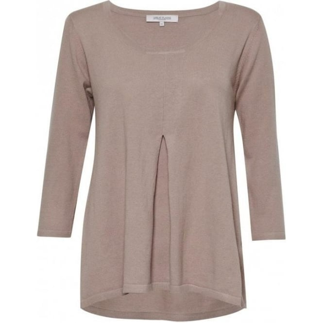 Great Plains Daria Knit Pleat Front Top in Sparrow Beige
