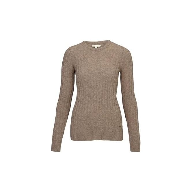 Barbour Womens Langdale Crew Jumper in Mocca