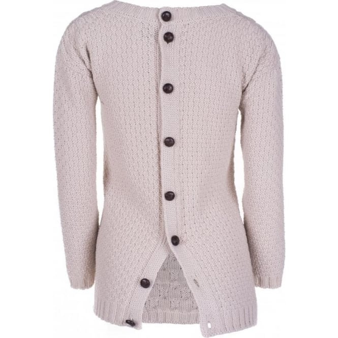 Peregrine Womens Button Back Jumper in Dirty White