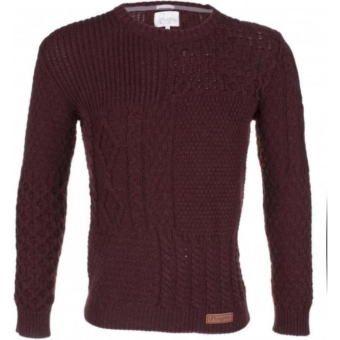 Peregrine Mens Patchwork Aran Jumper in Shiraz