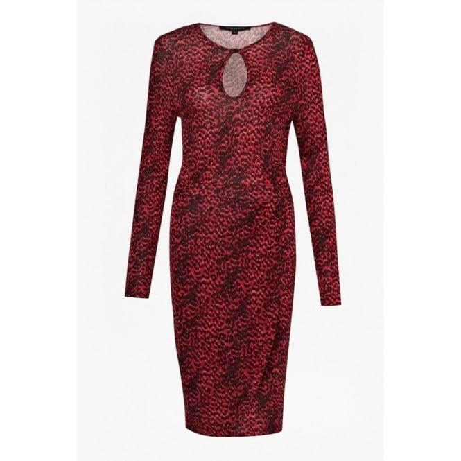French Connection Wildcat Long Sleeve Dress in Royal Scarlet Red