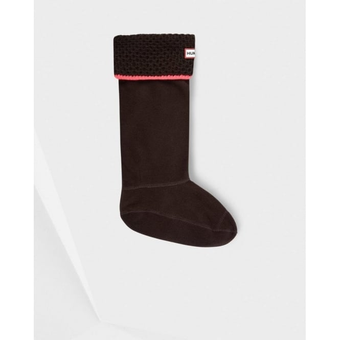 Hunter Neon Welly Sock in Dark Chocolate and Neon Pink