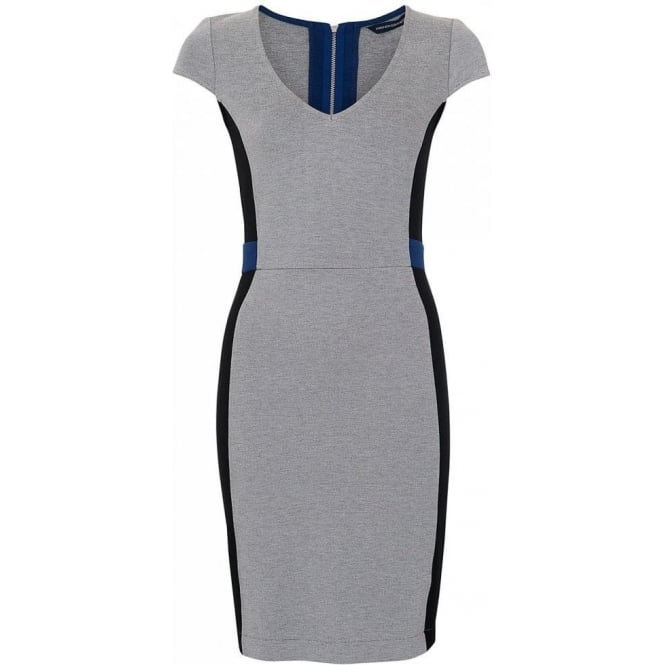French Connection Womens Manhattan Dress in Maya blue and Grey
