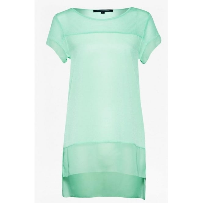 French Connection Womens Polly Raw Top in Mint Mojito