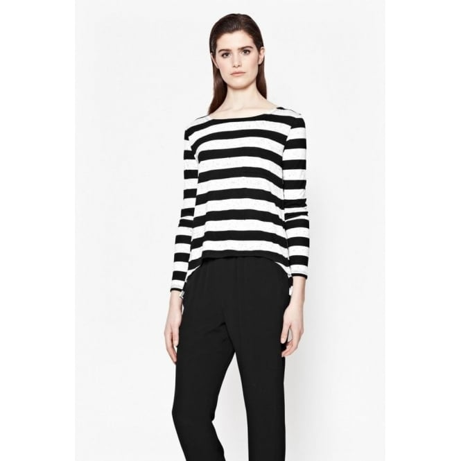 French Connection Womens Horizon Stripe Top in Grey and black
