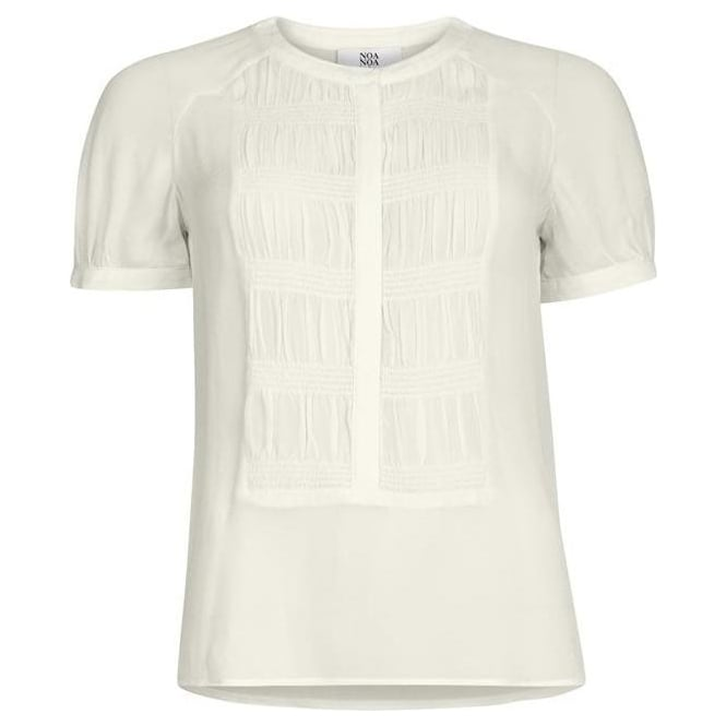 Noa Noa Womens Short Sleeve Blouse in Antique White