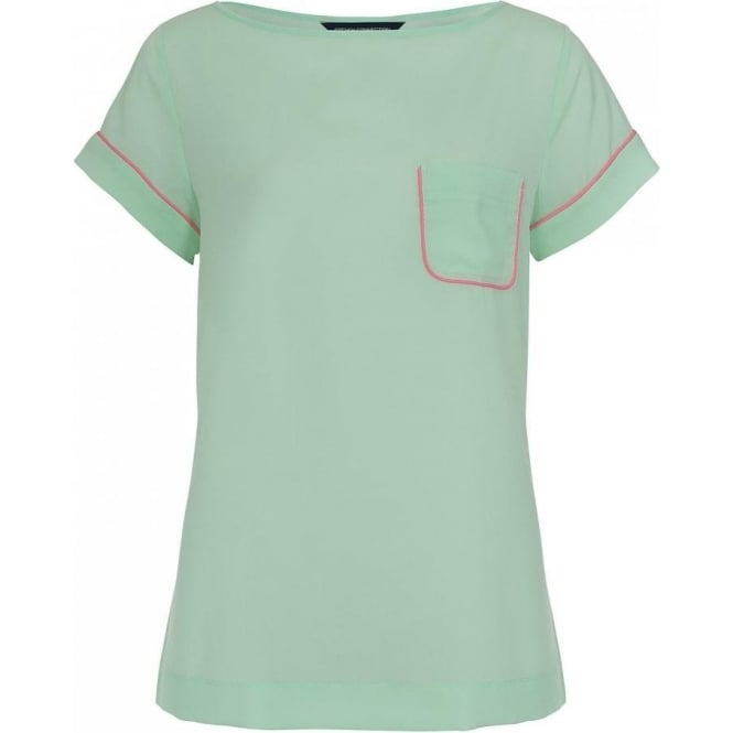 French Connection Womens Polly Piping Tee in Mint Mojito