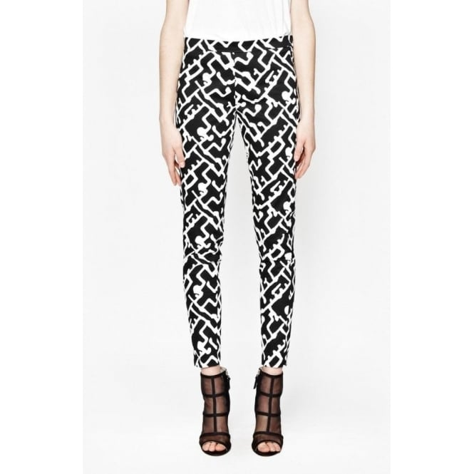 French Connection Womens Downtown Grid Printed Trousers in Black/white