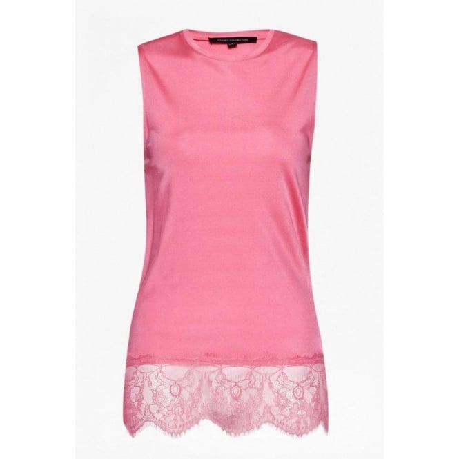 French Connection Womens Lace Spark Sleeveless Top in Keywest Coral