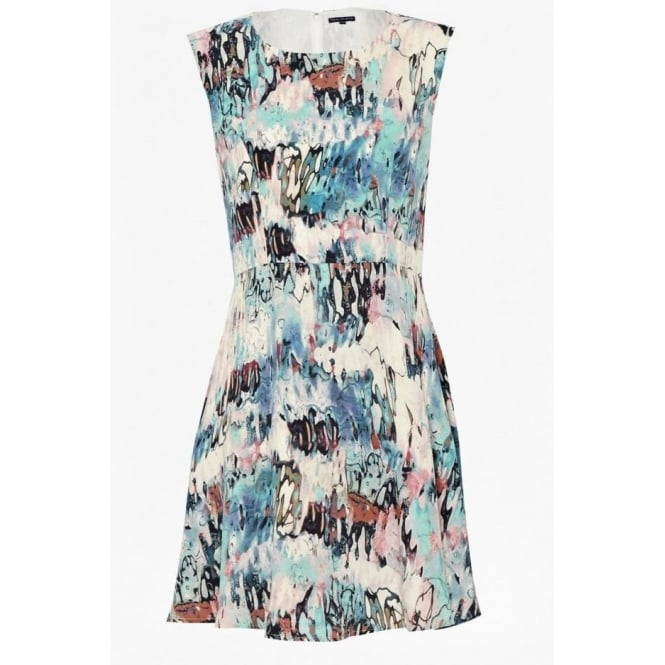 French Connection Womens Isla Ripple Flared Dress in Multi