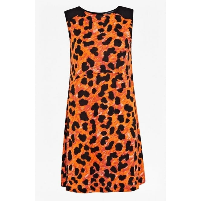French Connection Womens Leo Leopard Flared Dress in Calypso