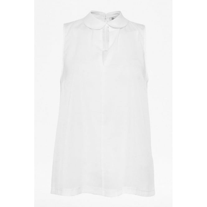 French Connection Womens Penny Plain Collared Top in White