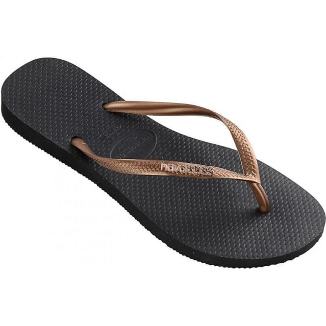 c9daf6f198671e Havaiana Womens Slim Logo Metallic Flip Flops in Black   Copper