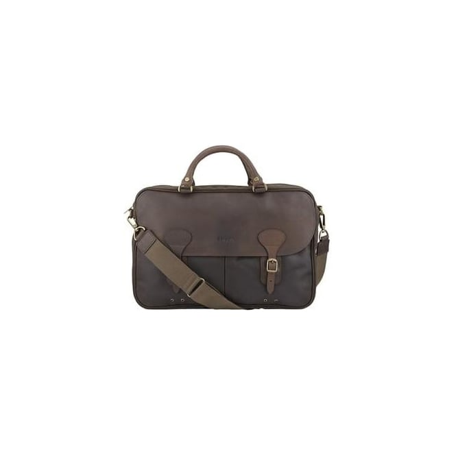 Barbour Mens Waxed Leather Briefcase in Olive