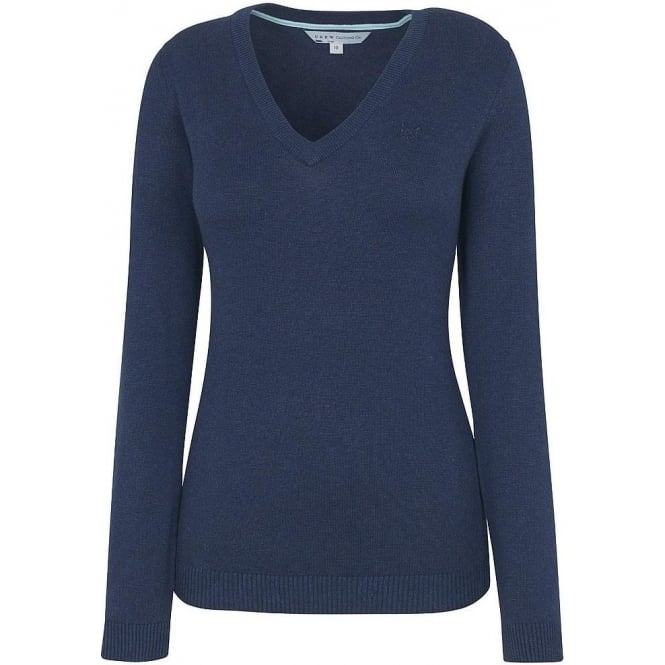Crew Clothing Womens Plain V neck in Navy
