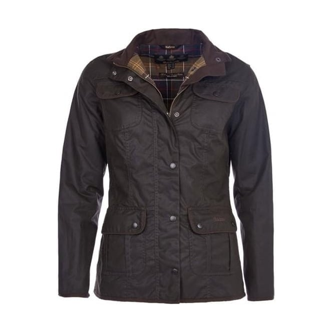 Barbour Womens Utility Waxed Jacket in Olive