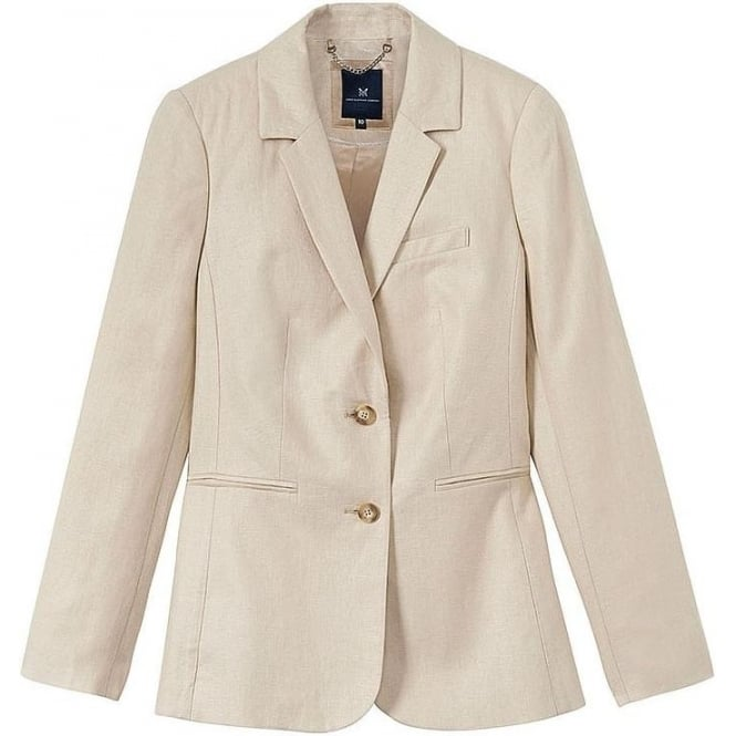 Crew Clothing Womens Linen Herringbone Blazer in Almond
