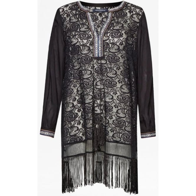 French Connection Womens Dumas Lace Fringe Tunic in Black