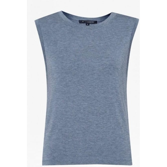 French Connection Womens Marley Jersey Tank in Blue Grey Mel