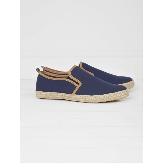 White Stuff Mens Hessian Slip On Trainer in Navy
