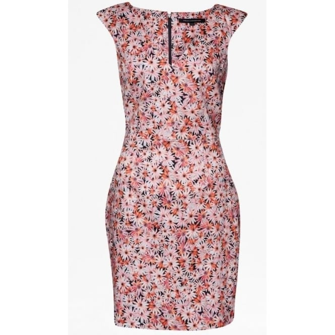 French Connection Womens Bacongo Daisy Floral Dress in Fizi Pink Multi