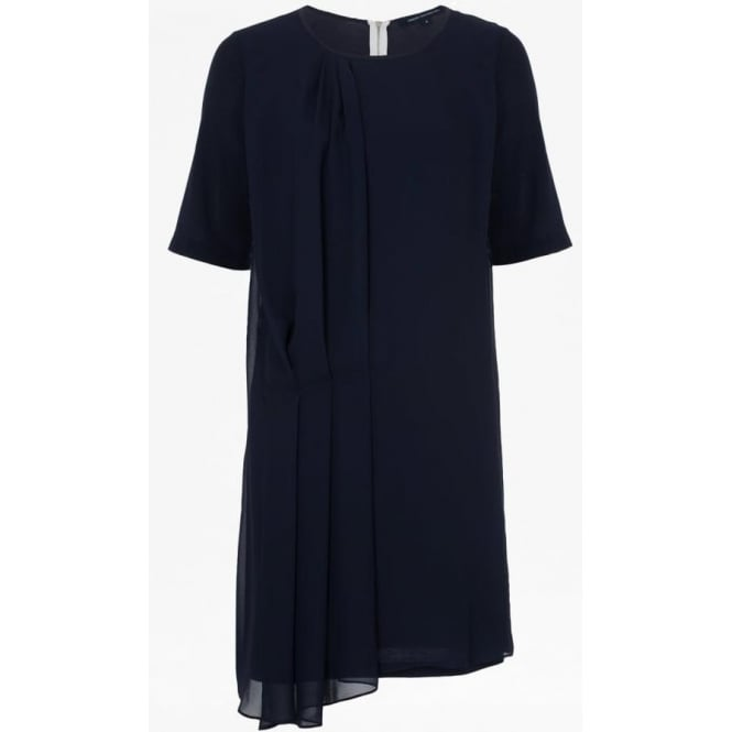 French Connection Womens Florrie Drape Dress in Utility Blue