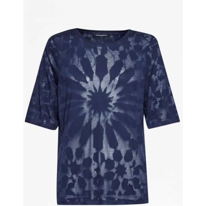 French Connection Womens Medina Burnout Loose T-Shirt in Indigo