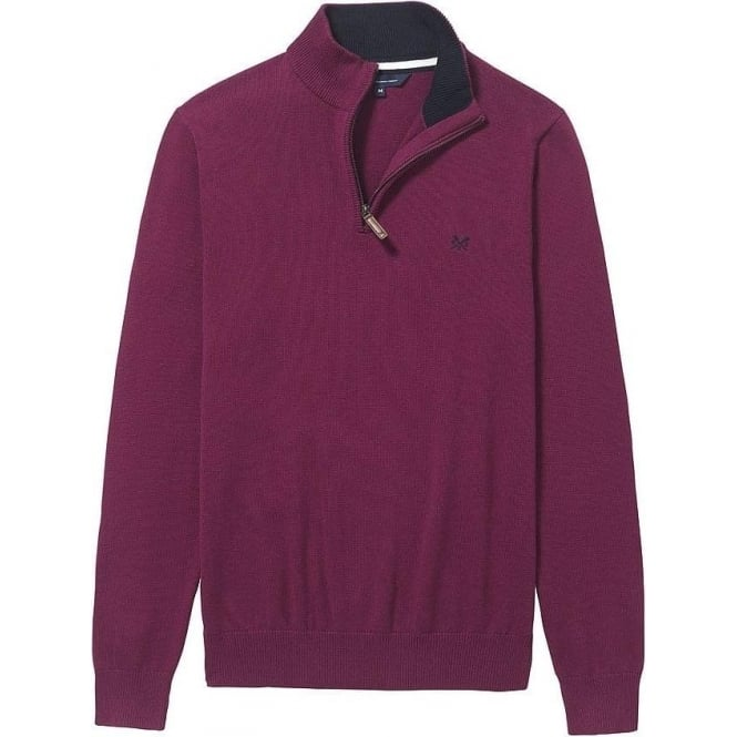 Crew Clothing Mens Classic 1/2 Zip Jumper in Boysenberry
