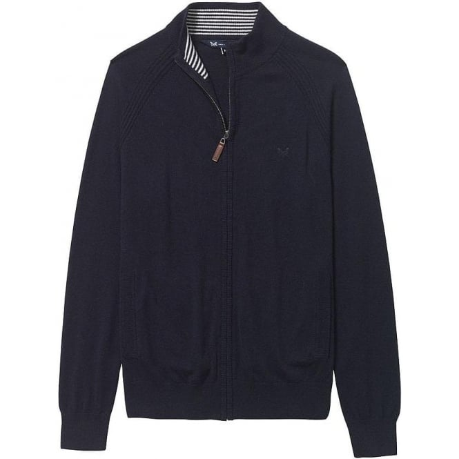 Crew Clothing Crew Mens Ardleigh Merino Full Zip in Dark Navy
