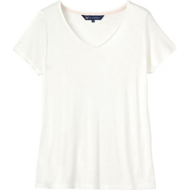 Crew Clothing Womens Relaxed Tee in White Linen