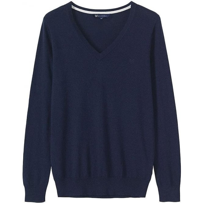 Crew Clothing Womens Foxy V-Neck Jumper in Navy