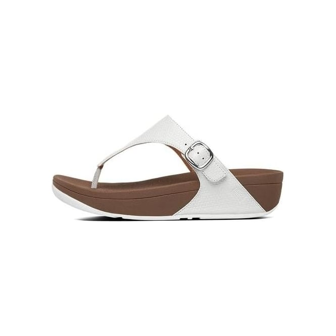 9963bed62 Womens The Skinny Embossed Leather Toe-thong in Urban White