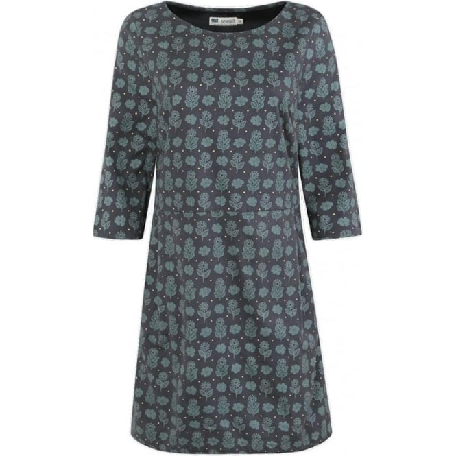 Seasalt Womens Little Petherick Dress in Autumn Woodcut Coal