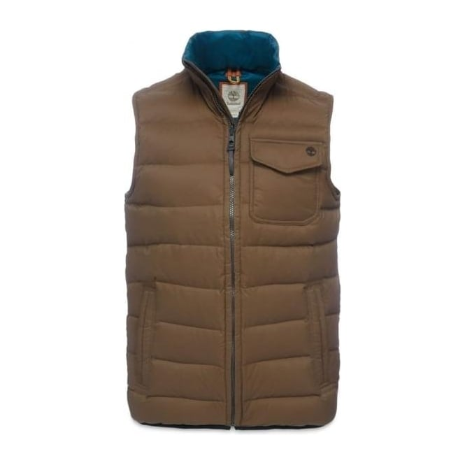 Timberland Mens Bear Head Featherdown Mountain Vest in Dark Olive