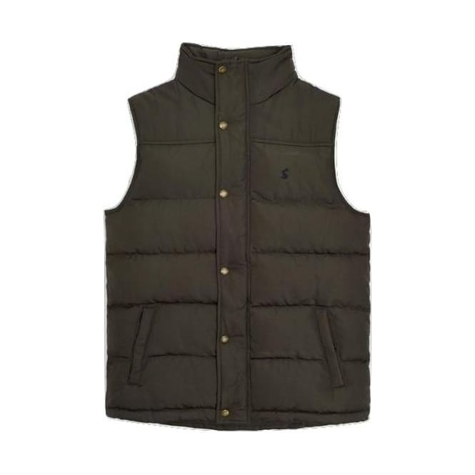 Joules Mens Trail Padded Gilet in Black Olive
