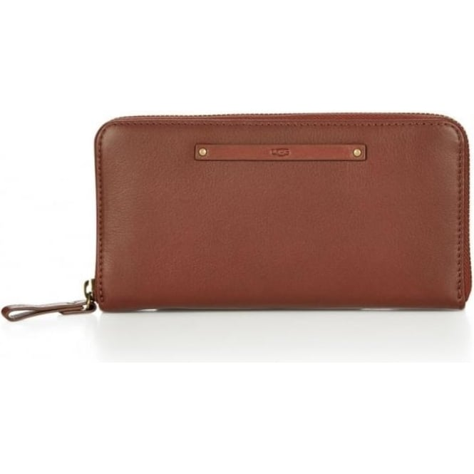 UGG Womens Jenna Zip Around Wallet in Deep Mahogany