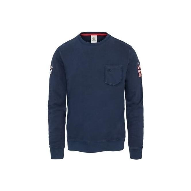 Timberland Mens Eastham Badge Sweatshirt in Dark Sapphire