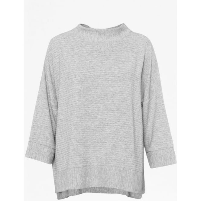 French Connection Womens Sudan Marl 3/4 Sleeve Top in Grey