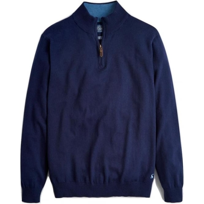 Joules Mens Hillside Half Zip Funnel Neck Jumper in French Navy