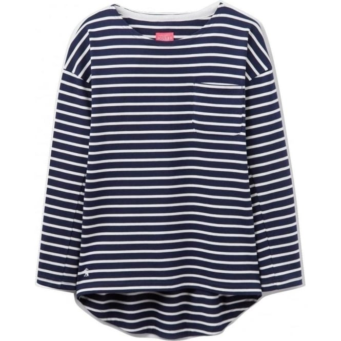 Joules Womens Bay Drop Shoulder Jersey Top in Hope Stripe French Navy
